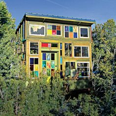 This 100-square-foot cabin in Santa Fe, New Mexico is a kaleidoscopic wonderland.