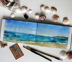 Portugal, ocean Watercolor