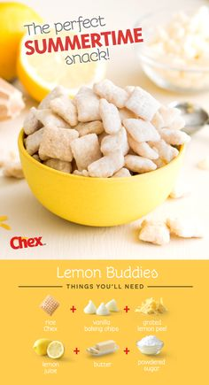 A summer favorite of ours - Lemon Buddies! An easy 15 minute recipe made with just six ingredients; rice chex, white baking chips, fresh grated lemon peel, lemon juice, butter and powdered sugar. Perfect for bridal or baby showers – but really no excuse i Dessert Dips, Dessert Party, Dessert Parfait, Dessert Recipes, Coctails Recipes, Dishes Recipes, Recipies, Cooking Recipes, Lemon Recipes