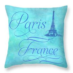 Eiffel Tower, Paris France, French Style Pillow Cover, Turquoise Blue, Bedroom Decor, Home Decor, De Blue Bedroom Decor, Paris Bedroom, Tour Eiffel, Paris France, Country Wall Art, Bleu Turquoise, Cotton Twill Fabric, Luxurious Bedrooms, Decoration
