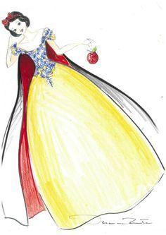 Disney Princess designer dress sketch, Snow White