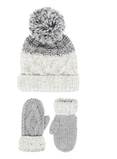 Prepare her winter essentials with this pretty two piece set, which includes cable knit mittens and a sequinned bobble hat. Girls multicoloured kingdom set Two piece set Sequinned Cable knit Pom pom Keep away from fire