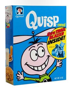 Breakfast cereal mascots: Beloved and bizarre - Photo 10 - Pictures - CBS News Quisp Cereal, Trix Cereal, Cereal Boxes, Cereal Packaging, Food Packaging, Bizarre Photos, Cocoa Puffs, Pink Milk, Breakfast Cereal