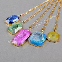 3&5Pcs Pretty Rainbow Octagon Gold Plated Agate Druzy Geode Necklace Golden Edge Natural Druzy Charm Gemstone Smooth Geode Jewelry G0522-N by Druzyworld on Etsy