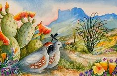 """Quails In Paradise - Watercolor painting on paper - 18"""" x 24"""""""