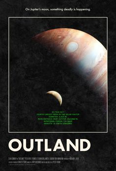 Poster for Outland by Scott Saslow. #outland #peterhyams #seanconnery #peterboyle #francessternhagen #jupiter #io #futuristic #movieposter #graphicdesign #posterdesign #fanart #alternativefilmposter #alternativemovieposter