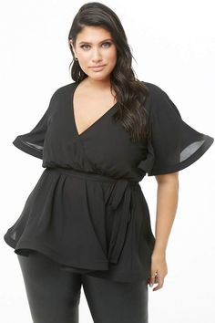 dbe5ad325 Forever 21 Plus Size Structured Flounce Top Women s Activewear Tops