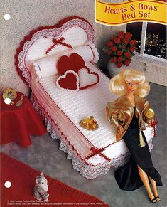 Hearts & Bows Bed Set  Barbie Furniture Pattern Annies Fashion Doll Crochet Club
