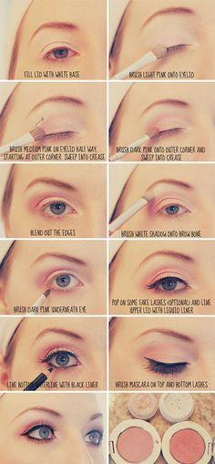 Pink eyeshadow + cat eyeliner look tutorial Beauty Make Up, My Beauty, Health And Beauty, Beauty Hacks, Hair Beauty, Beauty Ideas, Make Up Tutorials, Mascara, Eyeliner