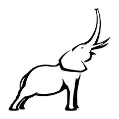 elephant outline trunk up