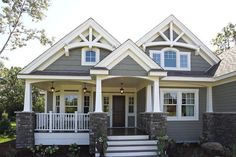 Best Ideas house exterior design dream homes craftsman style Design Exterior, Exterior House Colors, Exterior Paint, Gray Exterior, Craftsman Exterior Colors, Exterior Shutters, Siding Colors, Grey Homes Exterior, Navy Shutters