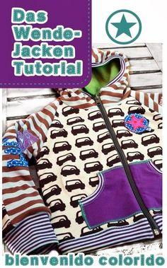 bienvenido colorido: Das Wende-Hoodie Tutorial zum Download. Ein Jacken-Schnittmuster braucht man trotzdem.