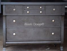 Antique Empire Dresser Refinished in Annie Sloan Graphite with dark wax, Rich Weathered Leather Patina — Shizzle Design