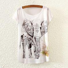 De las mujeres Bloques Camiseta-Escote Redondo-Mezclas de Algodón-Manga Corta 2760163 2016 – $5.99