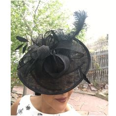 Black Sinamay W/ Feather Saucer Derby Fascinator Fixed headband.  made. HP @neelug  Ask ALL questions before buying, sales are final. I try to describe the items I sell as accurately as I can but if I missed something, please let me know FIRST so we can resolve it before you leave < 5rating.   TRADES/OFFLINE TRANSACTIONS LOWBALLING (Please consider the 20% PM fee) ✅Use OFFER BUTTON please 100% Authentic items   &  Free home Amihan Artisan Collection Accessories Hats