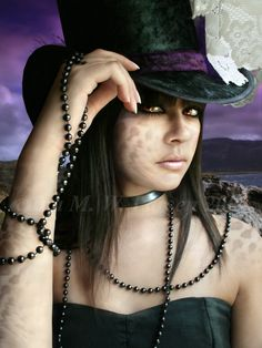 Hallow's Eve greetings. Fantasy/woman/black/hat/gothic/beads/purple