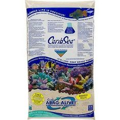 CaribSea Arag-Alive Bahamas Oolite Aquarium Sand, 20 lbs. Contains specially selected marine bacteria to suppress New Tank Syndrome. Never needs replacement. Aids in the growth of corals. Buffers for the life of the aquarium. Helps maintain a proper pH of 8.2 without constant chemical additions.  #Carib_Sea #Pet_Products