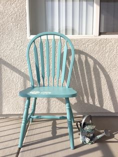 Windsor Chair In Provence Chalk Paint. With Lovely Owl Stencils In White $49