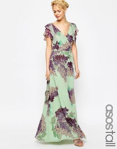 Image 1 of ASOS TALL Frill Tea Maxi Dress in Floral Print