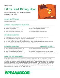 Lesson Plans: Little Red Riding Hood | Speakaboos Worksheets