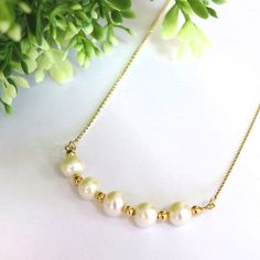 Wedding Necklace Gold Pearl Necklace White Pearl Necklace