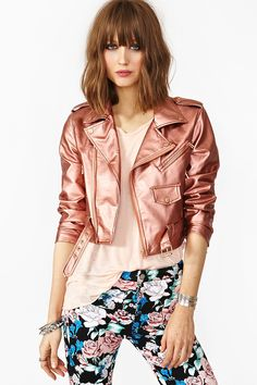 Cropped Moto Jacket Copper by Nasty Gal Rose Gold Jacket, Metallic Jacket, Metallic Leather, Red Leather, Casual Outfits, Cute Outfits, Fashion Outfits, Fashion Trends, Sexy Outfits