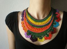 Sarracenia Flava ... Freeform Crochet Beaded Necklace -  Yellow Orange Purple Green - Colorful Flowers - Beadwork Bib Statement Necklace