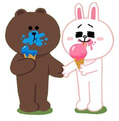 Brown and Cony eating ice cream
