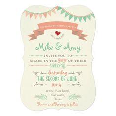 wonderful Vintage Bunting Whimsical Wedding Invitation