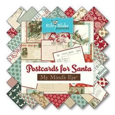 """SALE Postcards For Santa 21 10"""" Stacker Squares precuts by My Minds Eye for Riley Blake 100% cotton fabric for quilting by QuiltingTreasure on Etsy"""