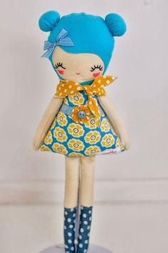 Love lulu doll, plush, softie handmade one of a kind by nooshka Felt Crafts, Fabric Crafts, Sewing Crafts, Sewing Projects, Diy Crafts, Doll Toys, Baby Dolls, Fabric Toys, Sewing Dolls