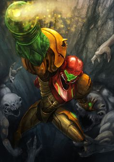 Samus, bustin up some alien scum, metroid style! Who here has beaten or at least played a metroid game? Metroid Samus, Samus Aran, Metroid Prime, Nintendo Characters, Video Game Characters, Zero Suit Samus, Super Metroid, Mundo Dos Games, Video Game Art