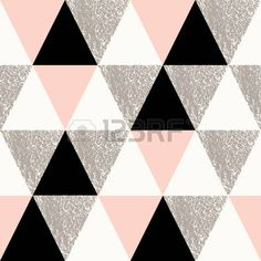 Abstract geometric seamless repeat pattern in black white taupe and pastel pink Modern and stylish a Stock Vector
