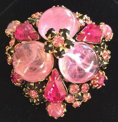 Gorgeous Vintage Schreiner N.Y Brooch/Pin/Pendant~Pink Glass/Fuschia RS/Goldtone