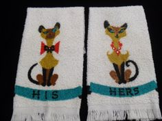 Vintage His & Hers Siamese cat hand towels