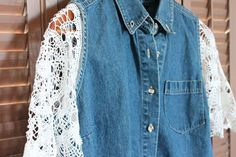 Denim is such a rugged and strong fabric. Doilies are so delicate and fragile. Combine these completely different textiles and create a delightful dichotomy by adding doily sleeves to an ordinary denim vest. Use two round doilies with the same pattern …