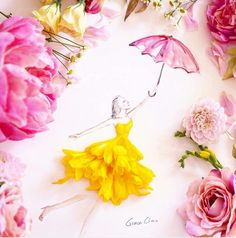 New Fashion Illustration Dresses Inspiration Grace Ciao Ideas Grace Ciao, Arte Fashion, Floral Fashion, Fashion Dresses, Trendy Fashion, Flower Sketches, Dress Sketches, Arte Floral, Flower Petals