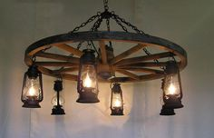 Wagon Wheel Chandelier: Wagon Wheel Chandelier With Lanterns 6 Lights Design ~ Chandelier Inspiration