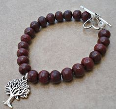 Mala Toggle Bracelet  Rosewood Colored Beads by TJsTreasureChest, $18.00