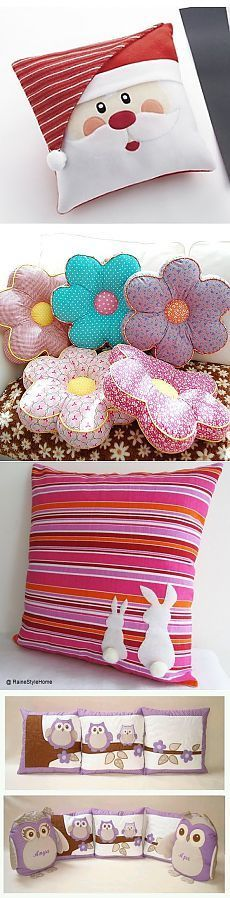 Love the flower pillows! Sewing Pillows, Diy Pillows, Decorative Pillows, Cushions, Sewing Crafts, Sewing Projects, Diy Y Manualidades, Patchwork Cushion, How To Make Pillows