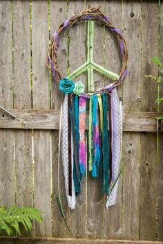 Peace Sign Wreath Door Hanger Tie Dye Decor by SechatsTreasures