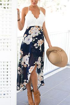 Wrap Front Floral Print Maxi Dress with Lace Details from mobile - US$19.95 -YOINS
