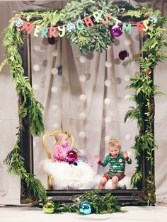Christmas card photo idea or Christmas photo booth! Bought the frame at consignment and decorated with festive decor.