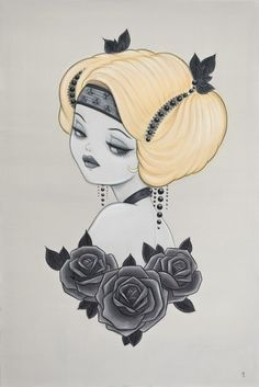 Honey : Painting by Anarkitty. Acrylic on Canvas 61cmx91cm inspired by 1920's show girls and Zeigfield Follies.