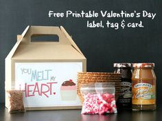 Free Printable Valentine's Day Label, Tag and Card