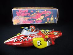 "LARGE 12"" MARX BUCK ROGERS ROCKET FIGHTER SPACE TIN LITHOGRAPH WIND-UP TOY MAR #Marx"