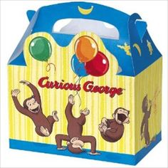 Hard To Find Party Supplies - Curious George 'Balloons' Favor Boxes (4ct)