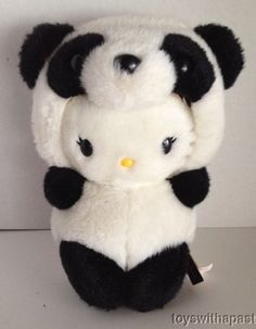 "Momoberry Hello Kitty Panda Bear 8"" Plush Sanrio 2008 Stuffed Animal Toy 