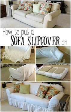Can't afford a new couch, but love the slipcovered look? This guide contains tips on how to put a generic slipcover on any old couch so that they look like they were made for each other. Furniture Care, Furniture Slipcovers, Couch Slipcover, Diy Sofa, Cheap Sofas, Sofa Covers, Diy Home Decor, Family Room, Upholstery
