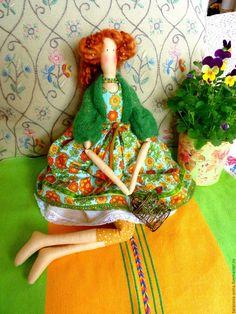 Купить Летнее утро - зеленый, оранжевый цвет, лето, летнее настроение, тильда кукла